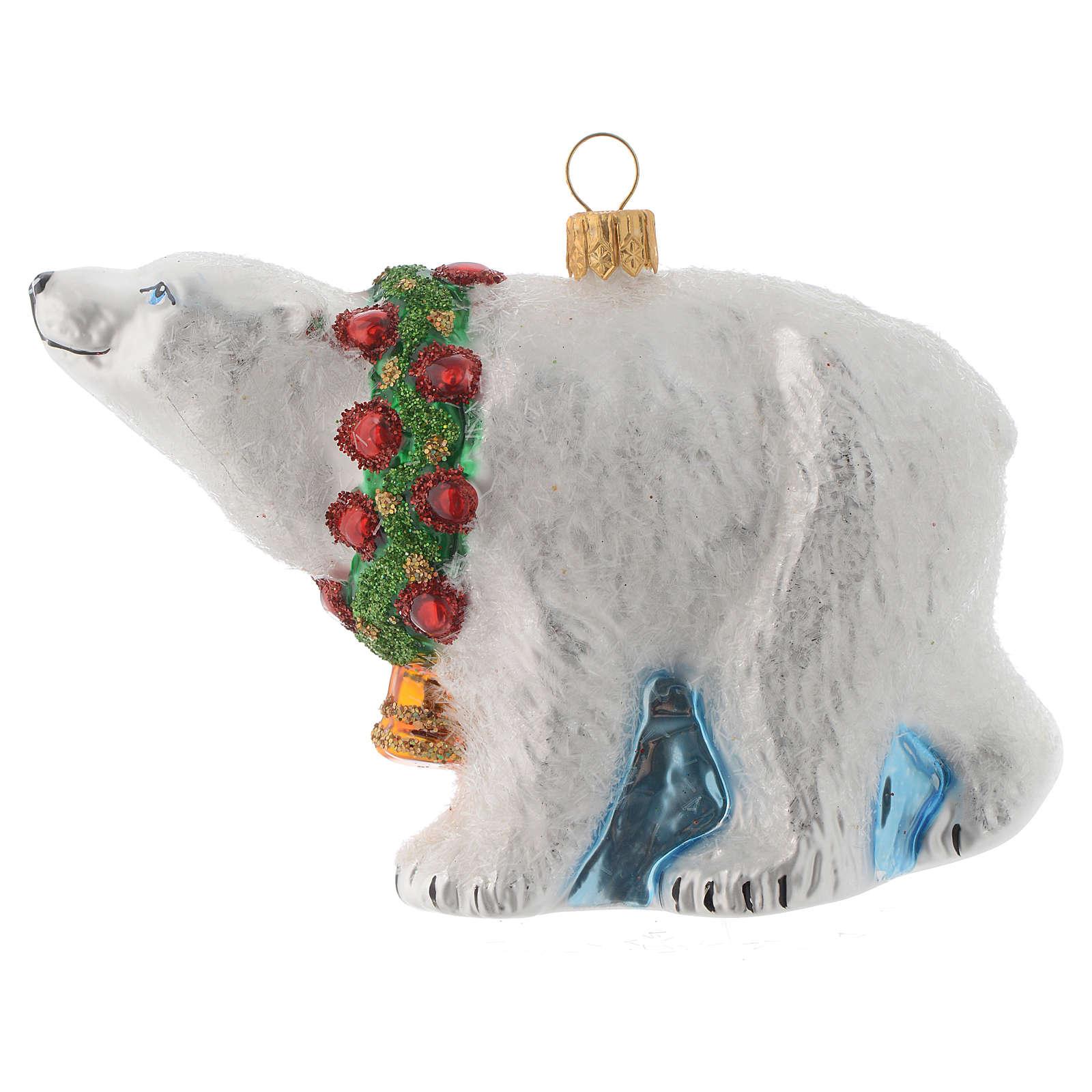 Ours polaire décor verre soufflé sapin Noël 4
