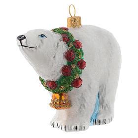 Ours polaire décor verre soufflé sapin Noël s2