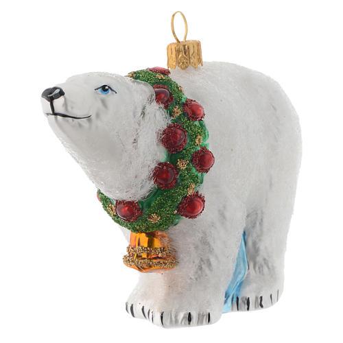 Ours polaire décor verre soufflé sapin Noël 2