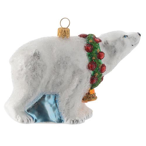 Ours polaire décor verre soufflé sapin Noël 3