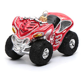 Blown glass Christmas ornament, Quad Bike s1