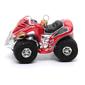 Blown glass Christmas ornament, Quad Bike s2