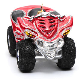 Blown glass Christmas ornament, Quad Bike s4