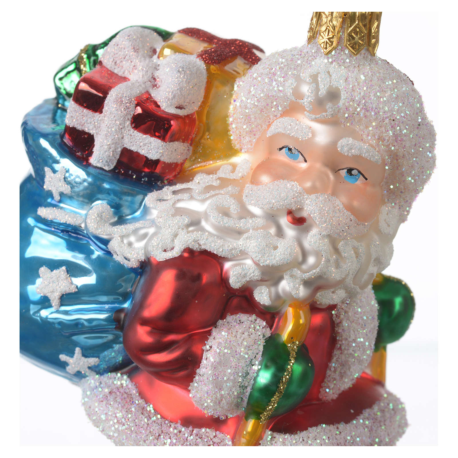 Blown glass Christmas ornament, Santa Claus on ski 4