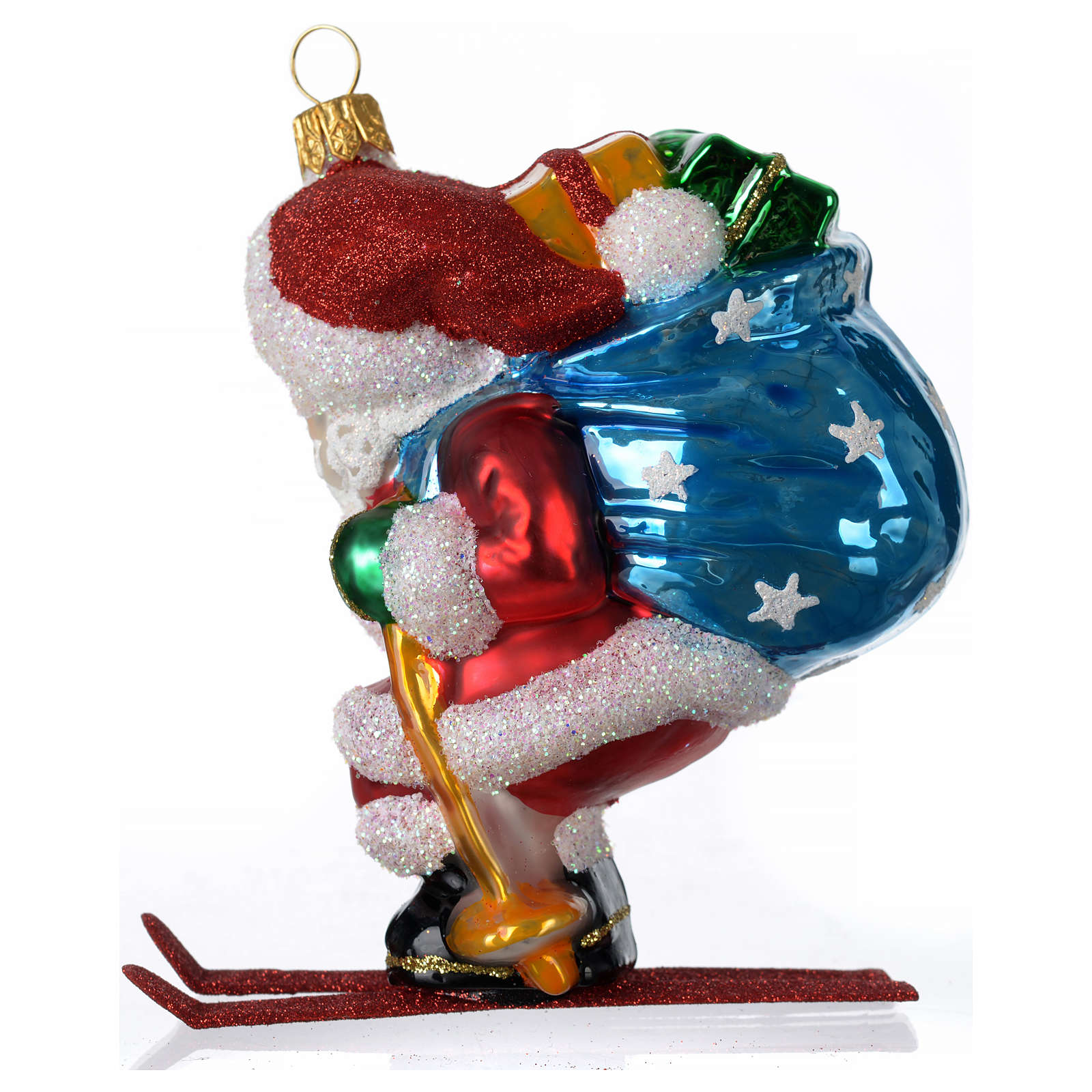 Blown glass Christmas ornament, Santa Claus on skis 4