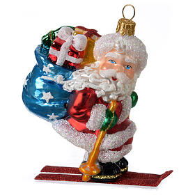 Blown glass Christmas ornament, Santa Claus on skis s1
