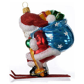 Blown glass Christmas ornament, Santa Claus on skis s3
