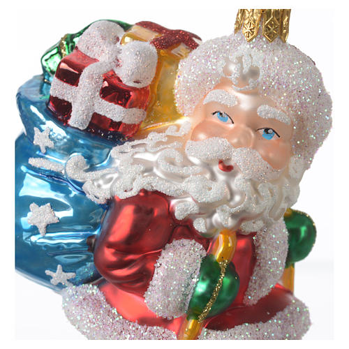 Blown glass Christmas ornament, Santa Claus on skis 2