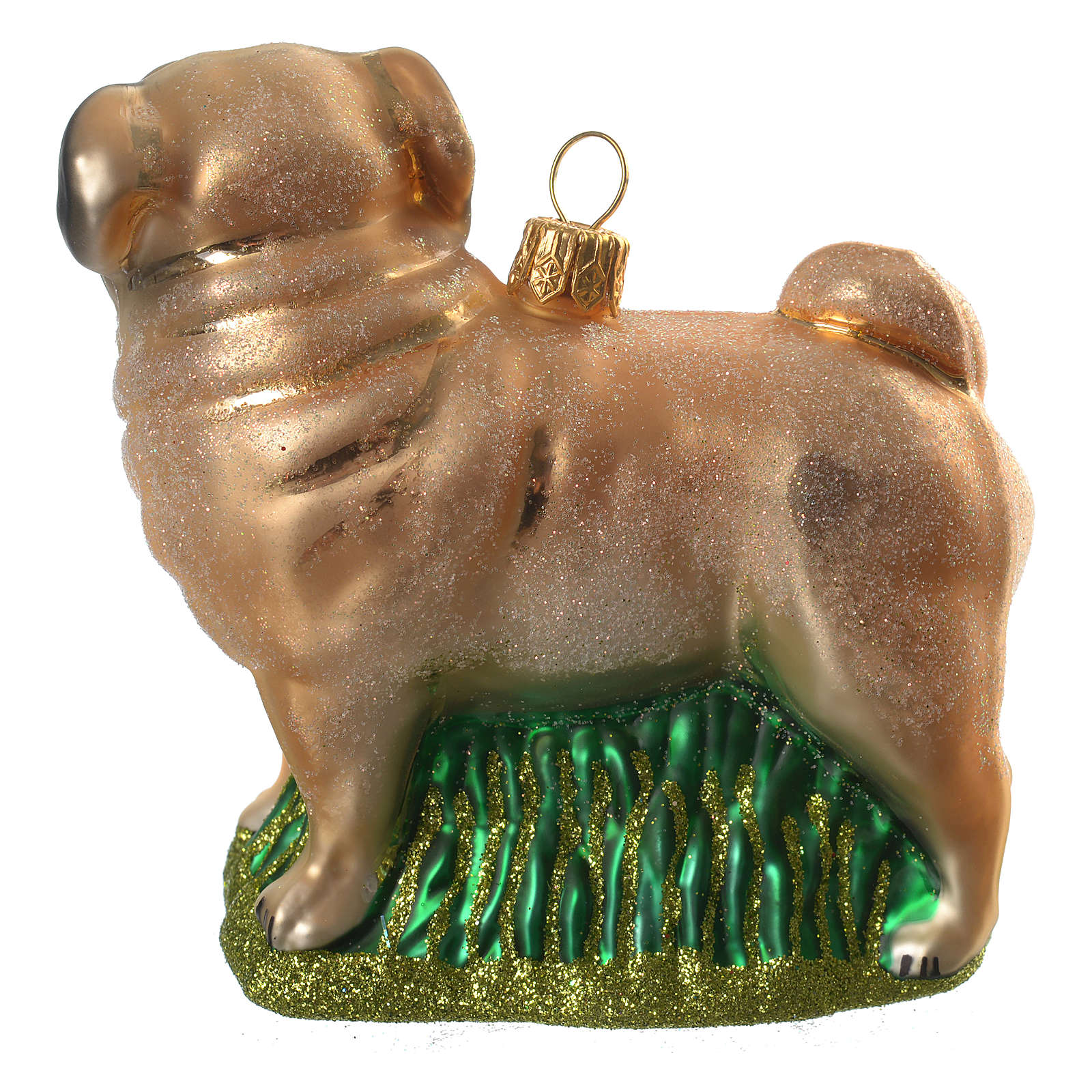 Blown glass Christmas ornament, pug 4