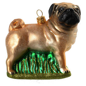 Blown glass Christmas ornament, pug s1