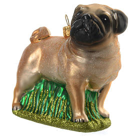 Blown glass Christmas ornament, pug s2