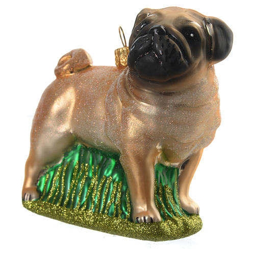 Blown glass Christmas ornament, pug 2