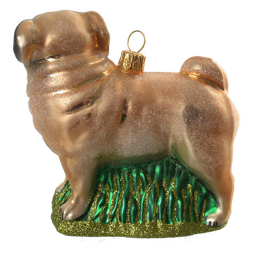 Blown glass Christmas ornament, pug 3
