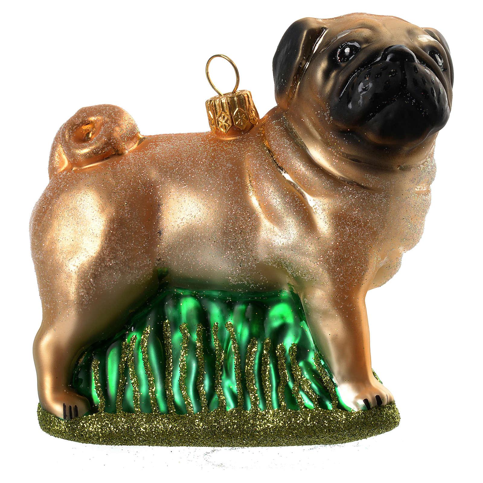 Cão pug em esquis vidro soprado adorno árvore Natal 4