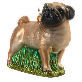 Cão pug em esquis vidro soprado adorno árvore Natal s2