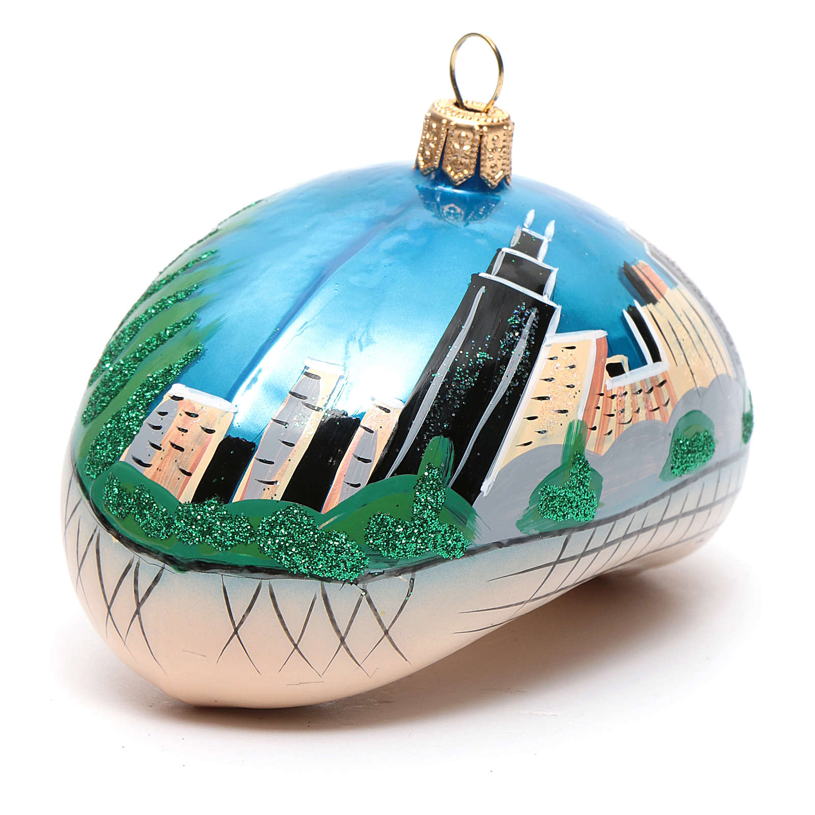 Blown glass Christmas ornament, Chicago Bean (Cloud Gate) 4