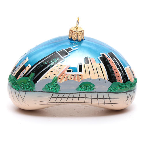 Blown glass Christmas ornament, Chicago Bean (Cloud Gate) 1