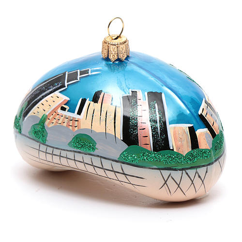Blown glass Christmas ornament, Chicago Bean (Cloud Gate) 2