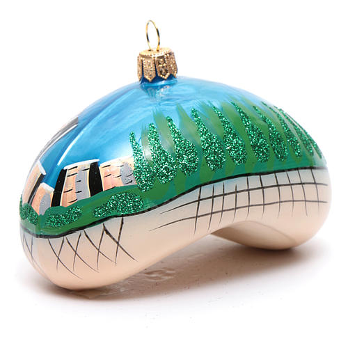 Blown glass Christmas ornament, Chicago Bean (Cloud Gate) 3