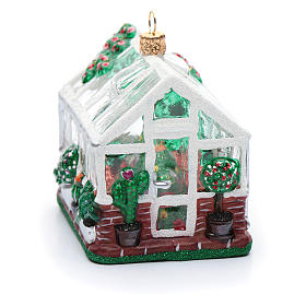 Blown glass Christmas ornament, greenhouse s4