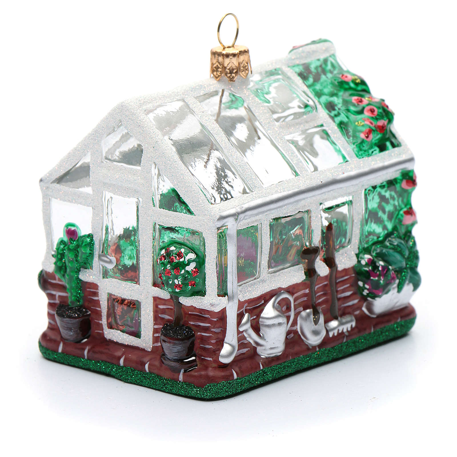Blown glass Christmas ornament, greenhouse 4