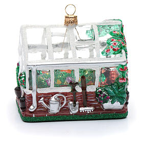 Blown glass Christmas ornament, greenhouse s2