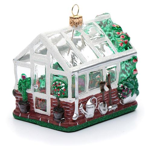 Blown glass Christmas ornament, greenhouse 1
