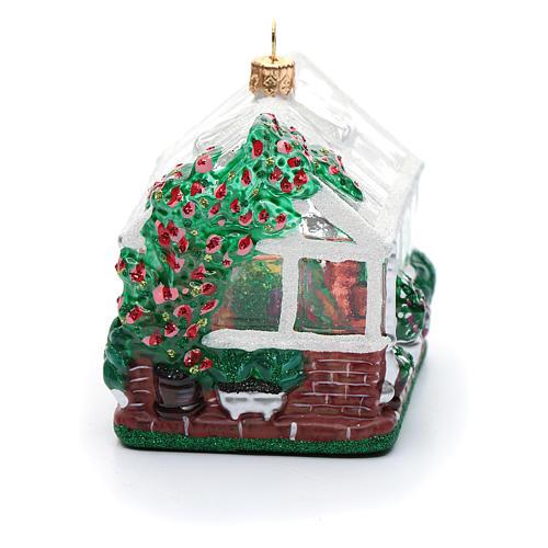 Blown glass Christmas ornament, greenhouse 3
