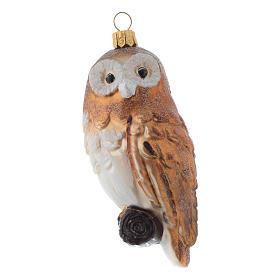 Blown glass Christmas ornament, owl s1