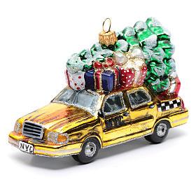 Taxi New York avec sapin décor verre soufflé sapin Noël s1