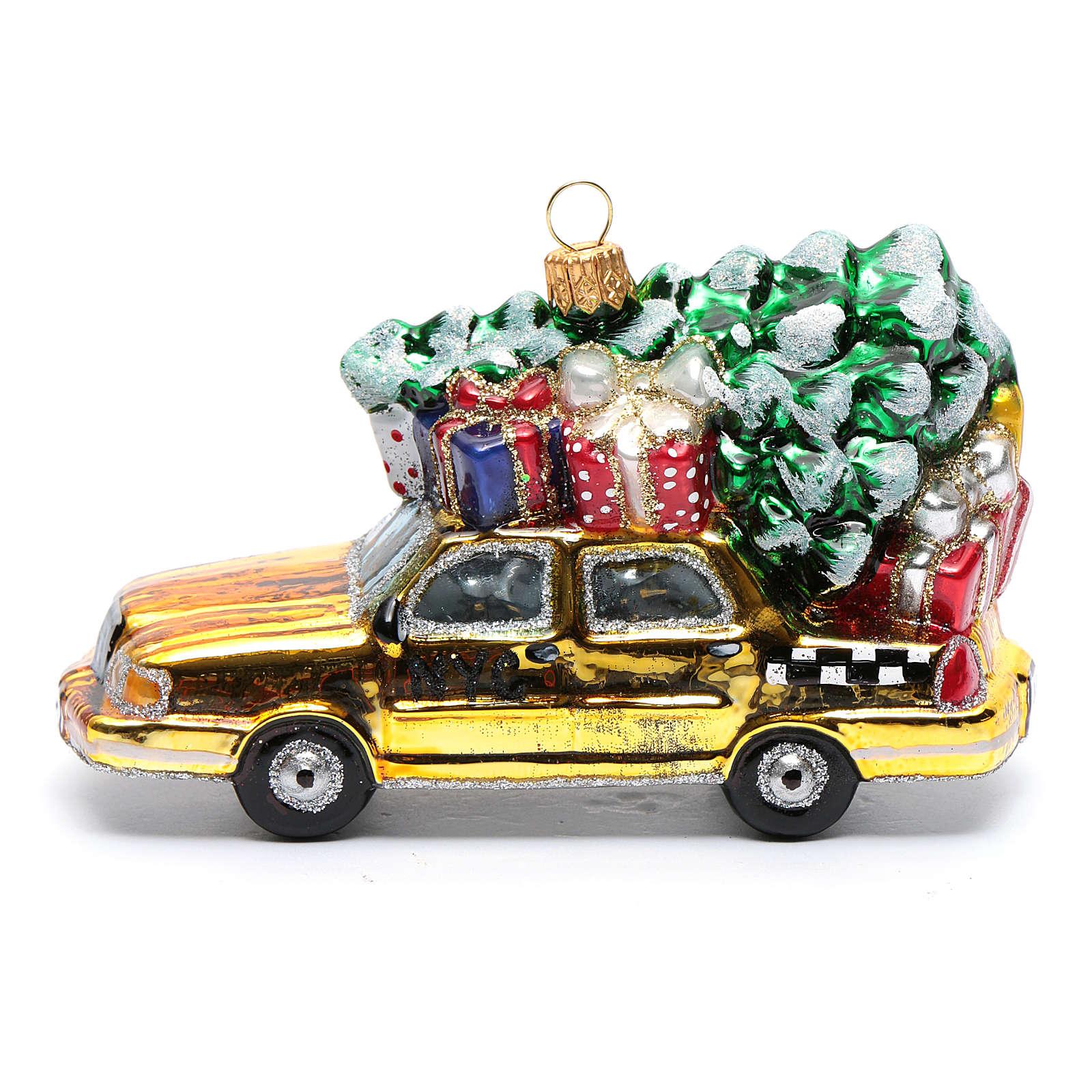 Taxi Nova Iorque com árvore vidro soprado adorno árvore Natal 4