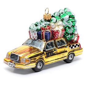 Taxi Nova Iorque com árvore vidro soprado adorno árvore Natal s1