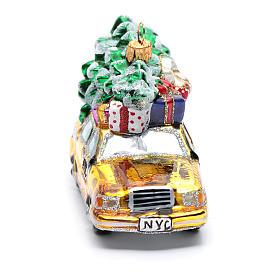 Taxi Nova Iorque com árvore vidro soprado adorno árvore Natal s4