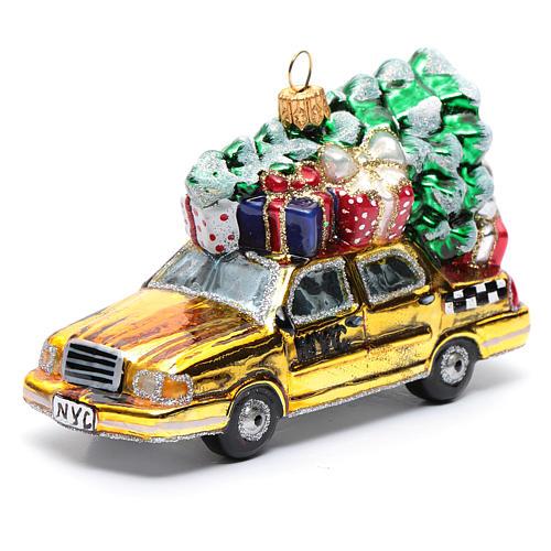 Taxi Nova Iorque com árvore vidro soprado adorno árvore Natal 1