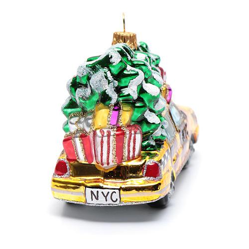 Taxi Nova Iorque com árvore vidro soprado adorno árvore Natal 3