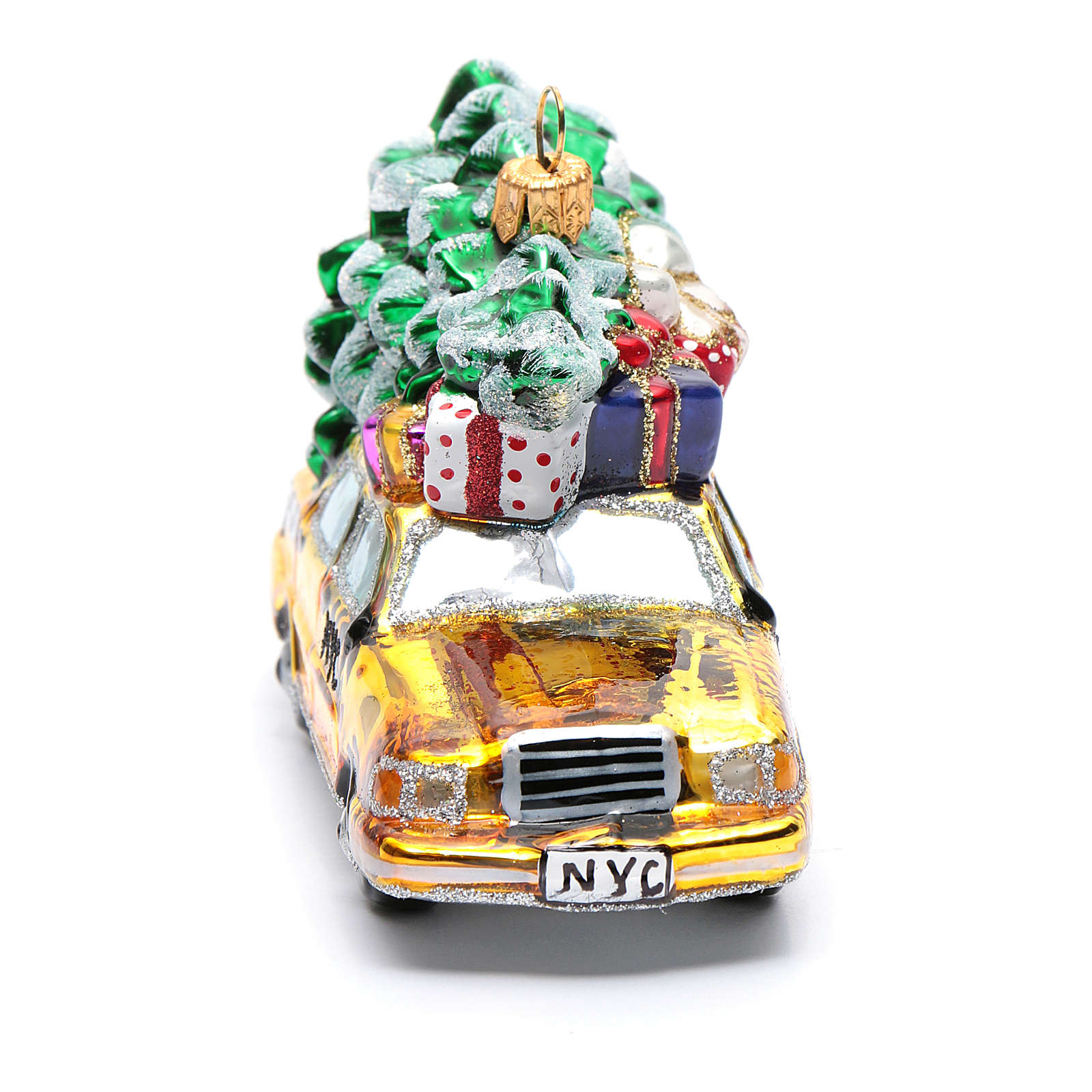 Nyc Christmas Tree Delivery: Blown Glass Christmas Ornament, New York Taxi With