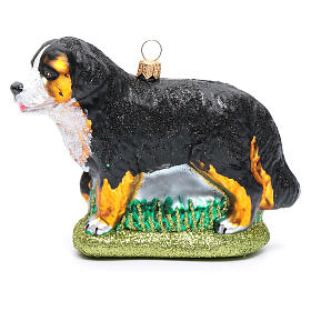 Blown glass Christmas ornament, Bernese Mountain dog s1