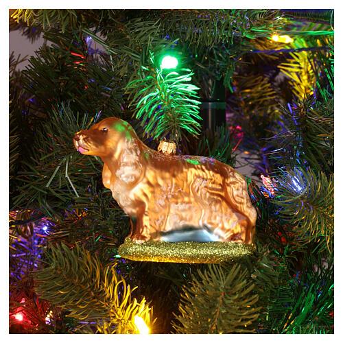 Décoration verre soufflé pour sapin Noël chien cocker 2