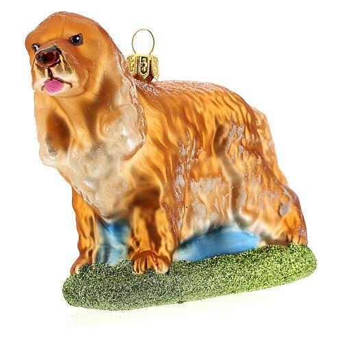 Décoration verre soufflé pour sapin Noël chien cocker 3