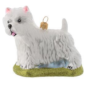 Adornos de vidrio soplado para Árbol de Navidad: Perro Westie Terrier adorno vidrio soplado Árbol de Navidad