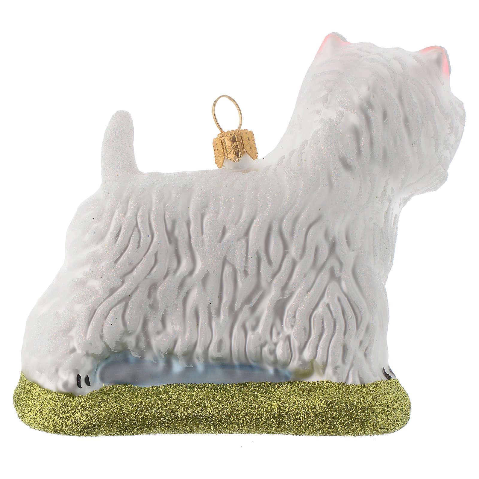 Cane Westie Terrier decorazione vetro soffiato Albero Natale 4