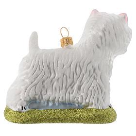 Cane Westie Terrier decorazione vetro soffiato Albero Natale s3