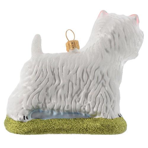 Cane Westie Terrier decorazione vetro soffiato Albero Natale 3