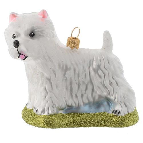 Blown glass Christmas ornament, Westie dog 1 - Blown Glass Christmas Ornament, Westie Dog Online Sales On HOLYART.com