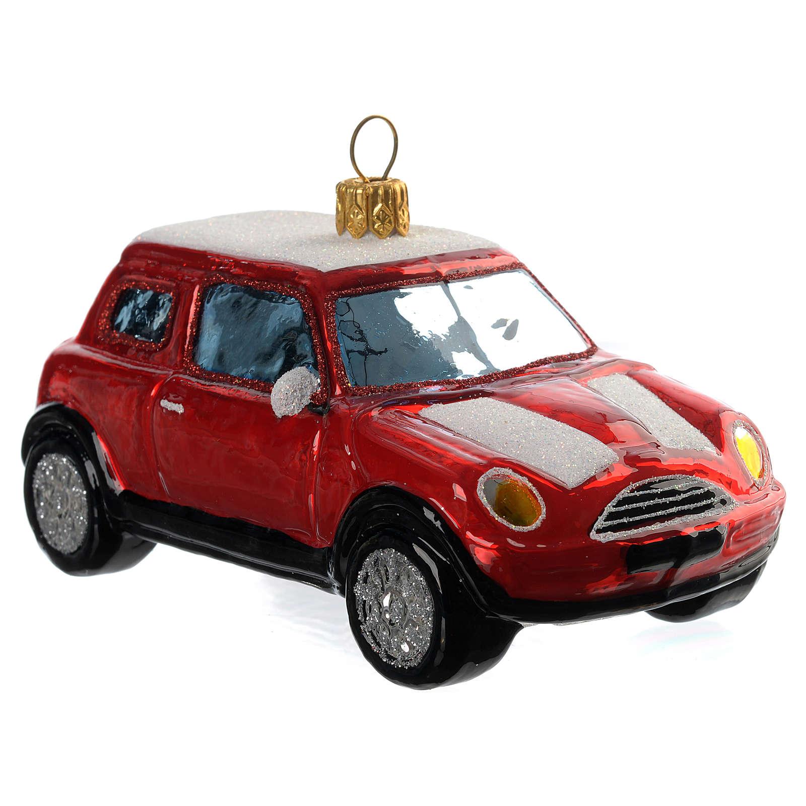 Mini Cooper vermelho adorno vidro soprado árvore Natal 4