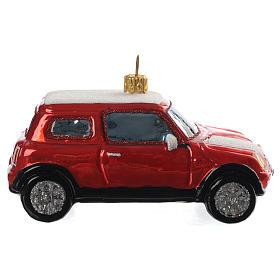 Mini Cooper vermelho adorno vidro soprado árvore Natal s1