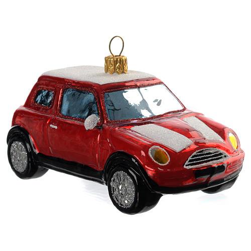 Mini Cooper vermelho adorno vidro soprado árvore Natal 2