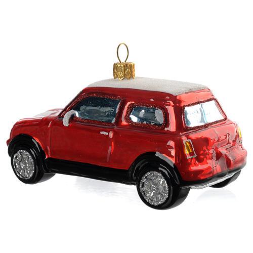 Mini Cooper vermelho adorno vidro soprado árvore Natal 3