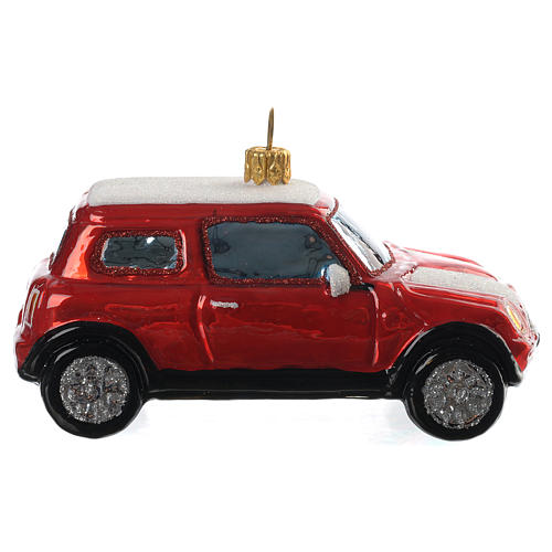 Blown glass Christmas ornament, red Mini Cooper 1