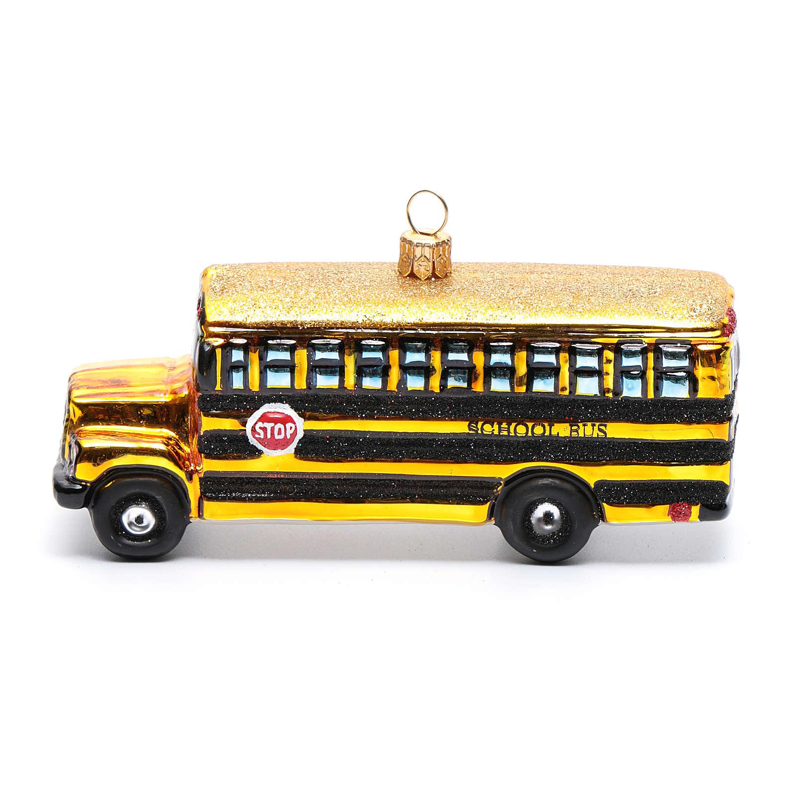 Autocarro escolar adorno vidro soprado árvore Natal 4